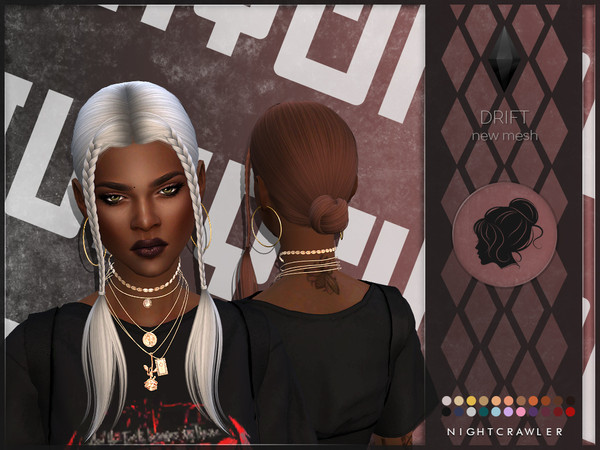 Sims 4 Drift hair by Nightcrawler at TSR