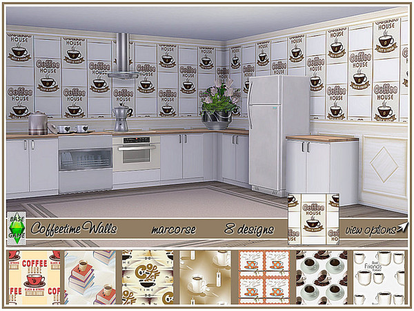 Coffeetime Walls by marcorse at TSR image 350 Sims 4 Updates
