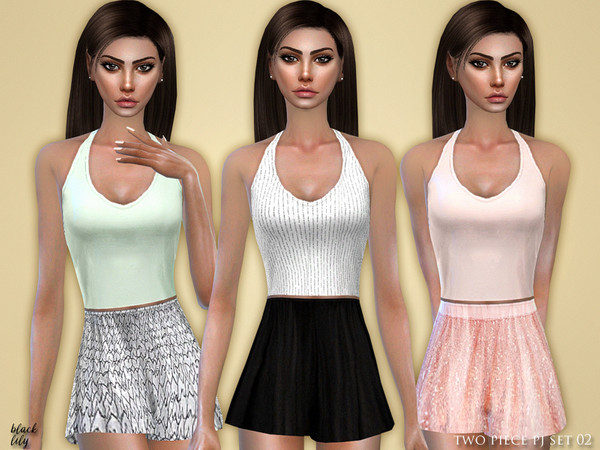 Sims 4 Two Piece PJ Set 02 by Black Lily at TSR
