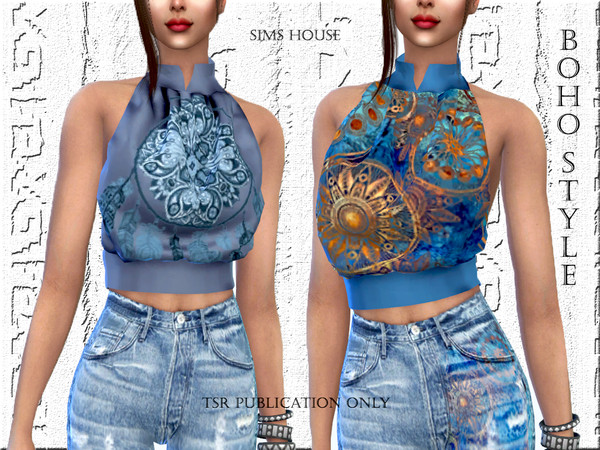 Sims 4 Boho style blouse by Sims House at TSR