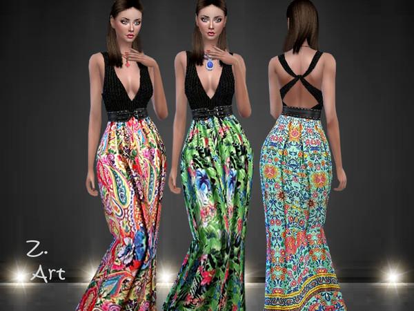 Sims 4 Boho 07 long dress by Zuckerschnute20 at TSR