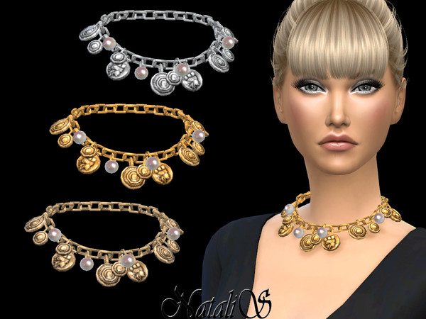 Coin and pearl chain necklace by NataliS at TSR image 3716 Sims 4 Updates