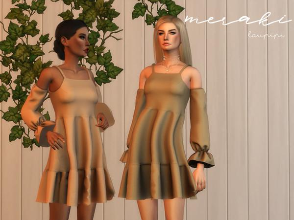 Sims 4 Meraki boho inspiration dress by laupipi at TSR