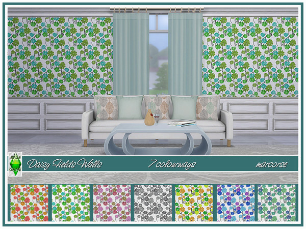 Sims 4 Daisy Fields Walls by marcorse at TSR