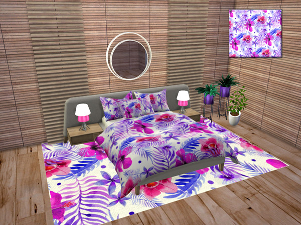Sims 4 Tropical Watercolor Bedroom Accessories by neinahpets at TSR