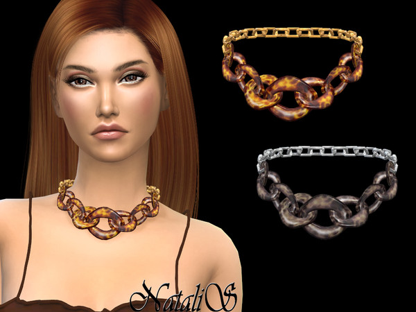 Sims 4 Tortoiseshell resin necklace by NataliS at TSR