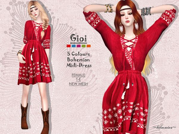 Sims 4 GIOI Bohemian Midi Dress by Helsoseira at TSR