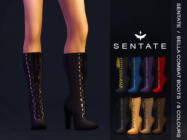Sims 4 Bella Combat Boots by Sentate at TSR