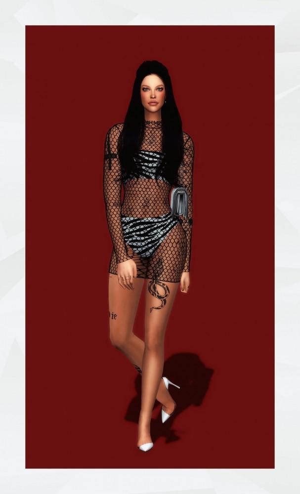 Sims 4 Fishnet Mesh Dress at Gorilla