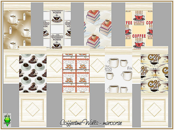 Sims 4 Coffeetime Walls by marcorse at TSR