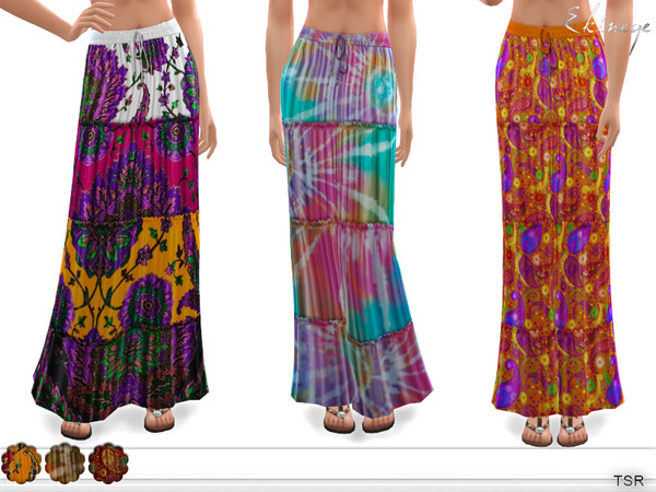 Sims 4 Tiered Printed Maxi Skirt by ekinege at TSR