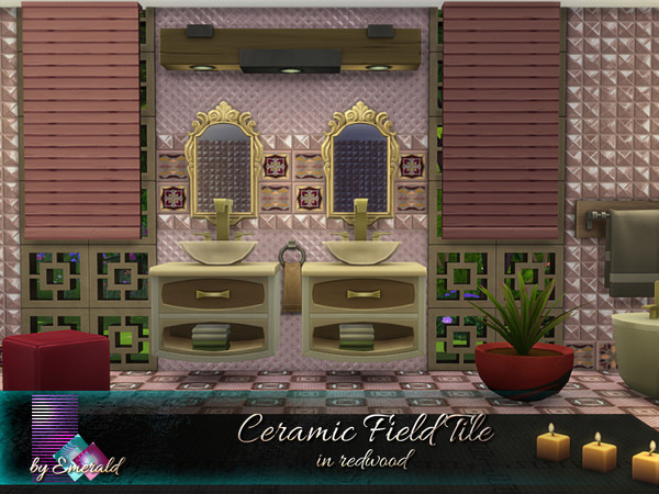 Sims 4 Ceramic Field Tile in redwood by emerald at TSR