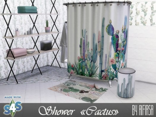 Cactus shower and decor at Aifirsa image 4711 Sims 4 Updates