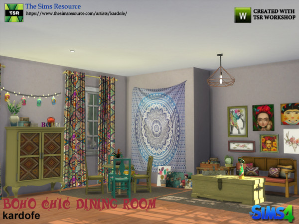 Boho Chic Dining Room by kardofe at TSR image 472 Sims 4 Updates