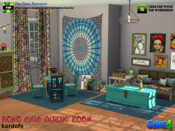 Boho Chic Dining Room by kardofe at TSR image 483 Sims 4 Updates