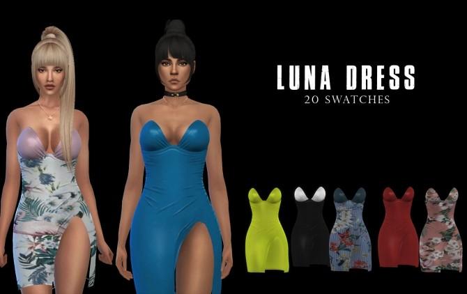 Sims 4 Luna Dress at Leo Sims