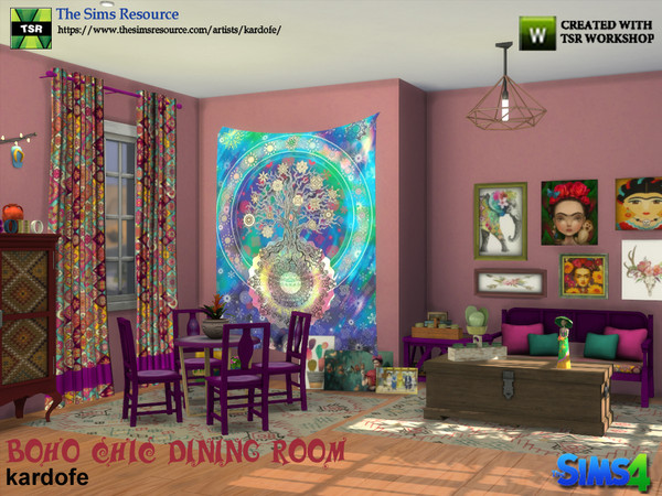 Boho Chic Dining Room by kardofe at TSR image 493 Sims 4 Updates