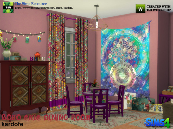Boho Chic Dining Room by kardofe at TSR image 503 Sims 4 Updates