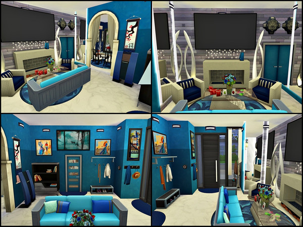 Villa Black Blue and White by Tontin2018 at TSR image 5102 Sims 4 Updates