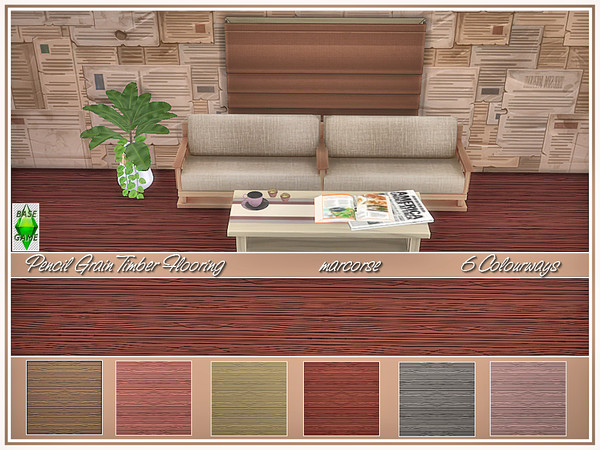 Sims 4 Pencil Grain Timber Flooring by marcorse at TSR