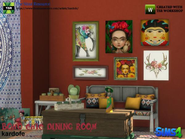 Sims 4 Boho Chic Dining Room by kardofe at TSR