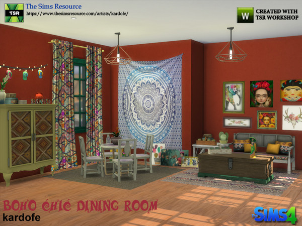 Boho Chic Dining Room by kardofe at TSR image 523 Sims 4 Updates