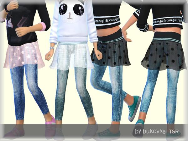 Sims 4 Denim & Skirt by bukovka at TSR