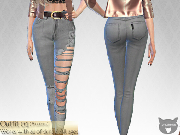 Sims 4 Ripped Jeans 01 by turksimmer at TSR
