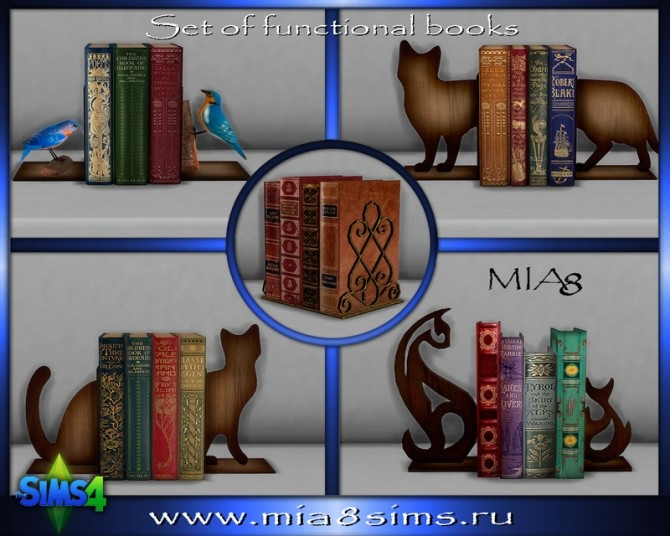 Sims 4 Set of functional books at Mia8Sims
