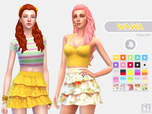 Sims 4 ManueaPinny Wawa frilled skirt by nueajaa at TSR