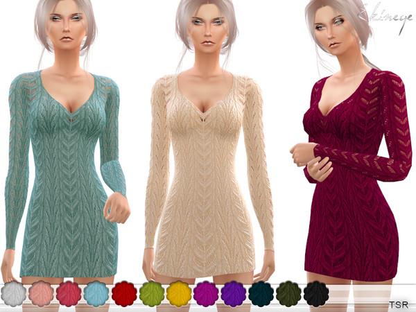 Sims 4 V Neck Knit Dress by ekinege at TSR