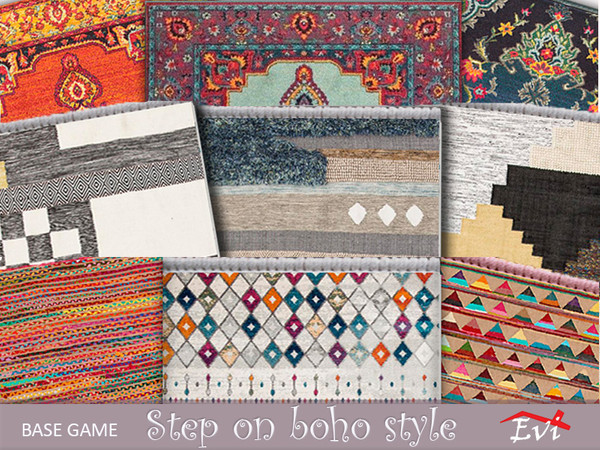 Step on Boho Style rugs by evi at TSR image 592 Sims 4 Updates