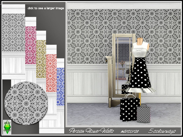 Sims 4 Persian Flower Walls by marcorse at TSR