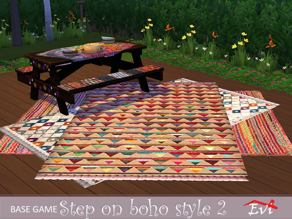 Step on Boho Style rugs by evi at TSR image 613 Sims 4 Updates