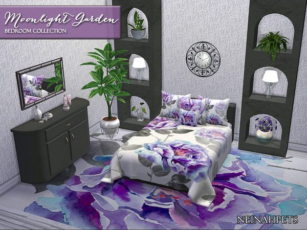 Sims 4 Moonlight Garden Bedroom Collection by neinahpets at TSR