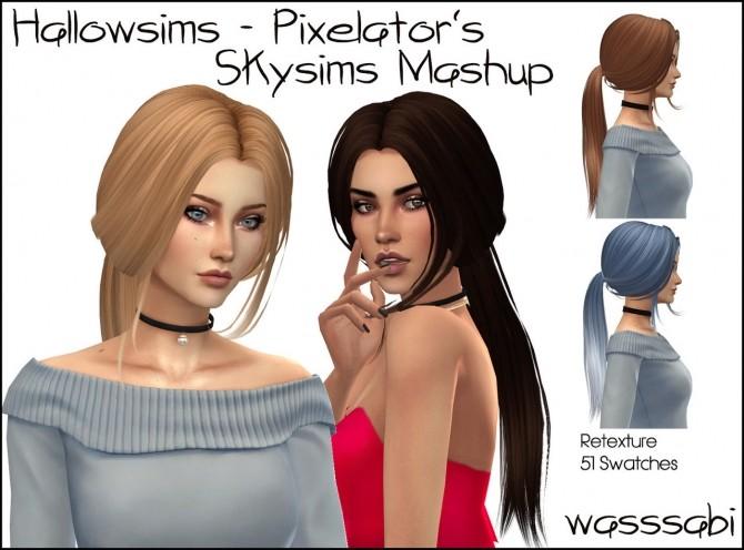 Hallowsims   Pixelator Skysimss mashup hair at Wasssabi Sims image 6513 670x496 Sims 4 Updates