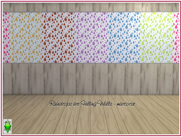 Sims 4 Raindrops are Falling Walls by marcorse at TSR