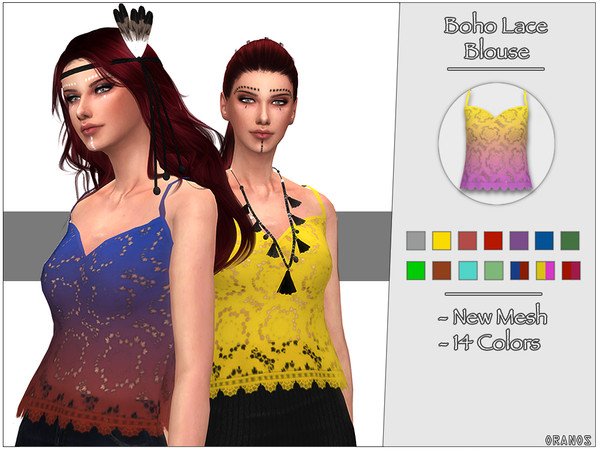 Sims 4 Boho Lace Blouse by OranosTR at TSR