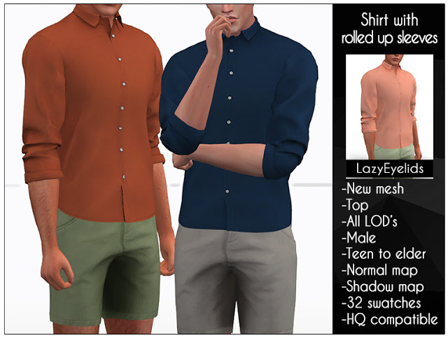 Shirt with rolled up sleeves at LazyEyelids image 696 Sims 4 Updates