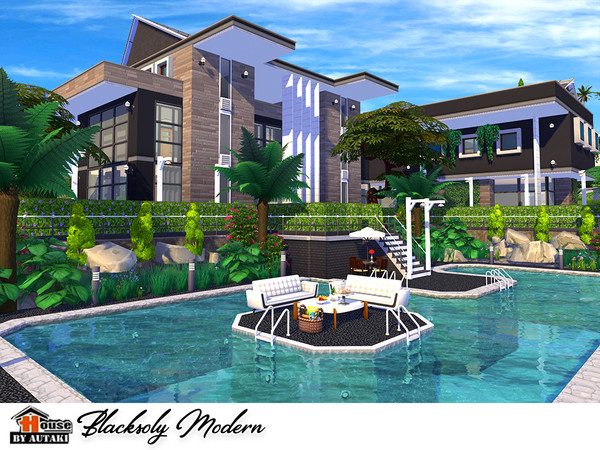 Blacksoly Modern house by autaki at TSR image 7 Sims 4 Updates
