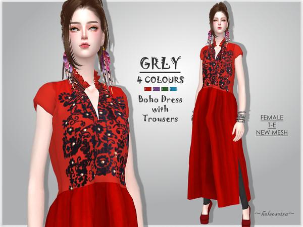 Sims 4 GRLY Boho Dress by Helsoseira at TSR