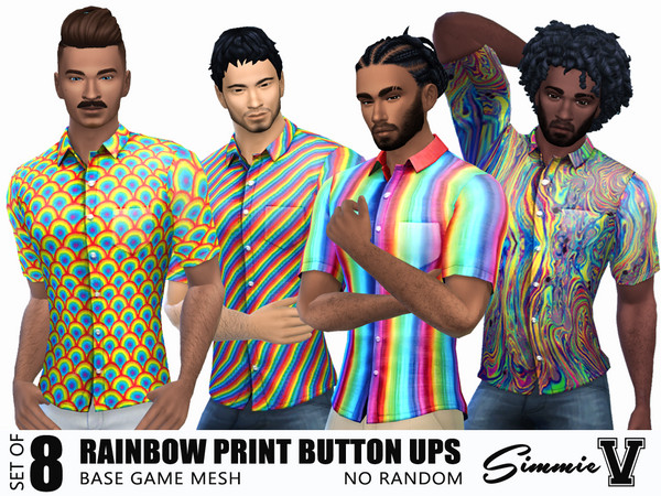 Sims 4 Rainbow Patterned Button Ups by SimmieV at TSR