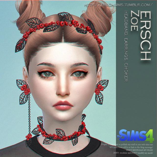 Sims 4 Zoe Set headband, earrings & choker at ErSch Sims