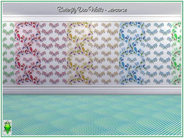 Sims 4 Buttefly Duo Walls by marcorse at TSR