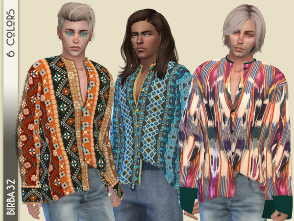 Boho oversized shirt recolor by Birba32 at TSR image 731 Sims 4 Updates