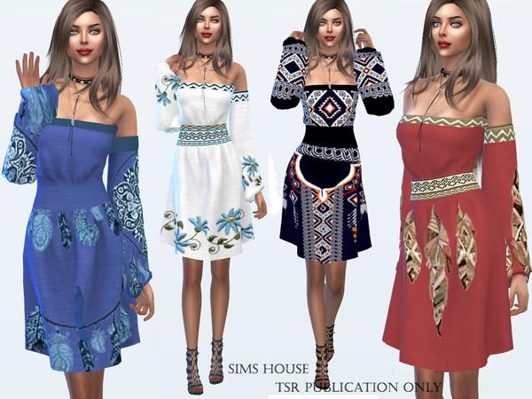 Sims 4 Dress Boho Chic by Sims House at TSR