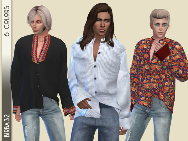 Boho oversized shirt recolor by Birba32 at TSR image 741 Sims 4 Updates