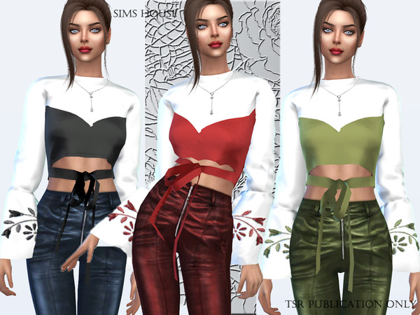 Sims 4 Silk blouse with embroidery on the sleeves by Sims House at TSR