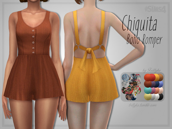 Sims 4 Chiquita Boho Romper by Trillyke at TSR