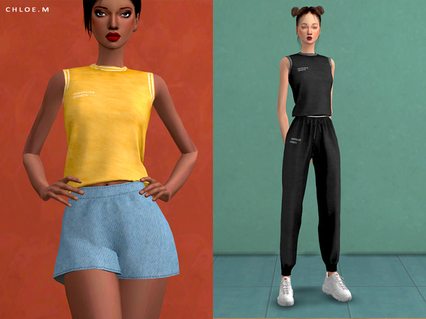 Sports Crop Top by ChloeMMM at TSR image 775 Sims 4 Updates